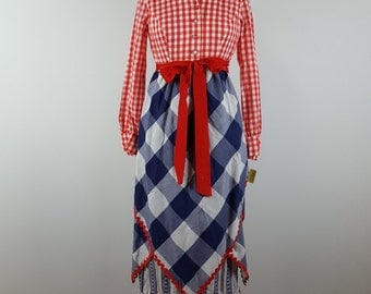 patriotic | vintage 1970s maxi hostess dress | vtg 70s maxidress | picnic | red white blue | medium/m