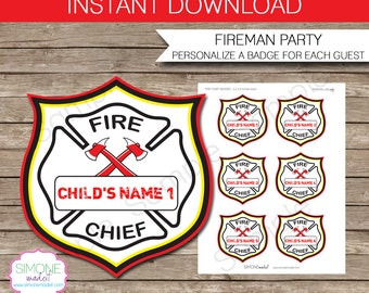 Fire Chief Badges - Fireman Birthday Party - INSTANT DOWNLOAD with EDITABLE text template - type your own text in Adobe Reader