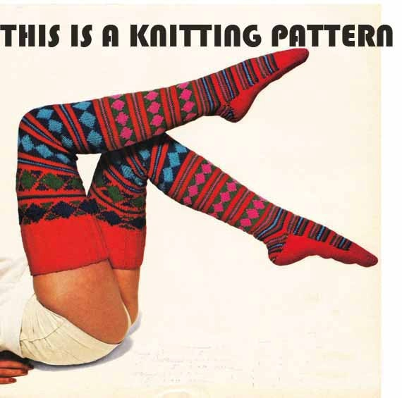 1970s VINTAGE PATTERN to KNIT Long Red Jacquard Socks, Women's thigh high Sox/Stockings, Boho/Folk/Tribal, Instant Pattern Pdf 0065