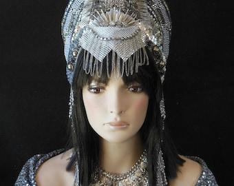 Metallic Silver Fantasy futuristic Sci-Fi  goddess Queen Princess Warrior Avant Garde Crown Headdress Headpiece  costume