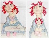 Whimsy Primitive Folk Art Raggedy Ann Annie Dolls by FosterChildWhimsy