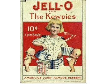 "Vintage Baby Ad, Kewpie Doll Image, Baby Image, Transfer Template, Large Clipart""JELLO KEWPIE AD"" Vintage Jello Ad, Ephemera Template"