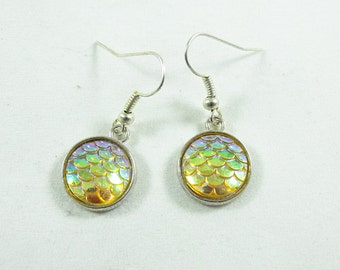 Silver Dangle Earrings, Mermaid Earrings Iridescent Yellow Color Scale Cabochons,  Womens Gift  Handmade
