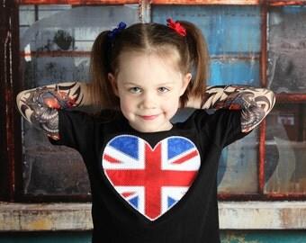 UK Heart Union Jack British Flag Embroidered Tattoo Sleeve Shirt