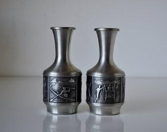 Vintage Pair Norwegian Groenlandica Tinn Pewter Decanters