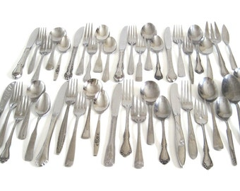 Stainless Silverware Set Mismatched Flatware Cottage Chic Service for 12, 8, 4 or more