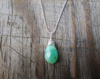 Chrysoprase Pendant, necklace with green chrysoprase, silver wire wrapped