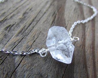 Herkimer Diamond Necklace, big raw herkimer diamond on a silver chain