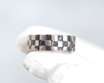 Two Toned Wedding Band Ring - Sterling Silver - Checker Retro Rockabilly - Ring Size 5