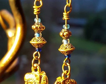 Exquisite Antiqued Gold elephant drop earrings