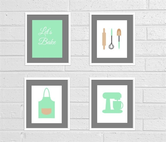 Baking Print Baking Wall Art Kitchen Decor Kitchen Art Mint Kitchen Mixer Baking Decor Apron Print Kitchen Bakery Art Rolling Pin Print Set