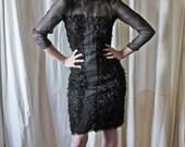 50s black lace silk muslin wiggle pleated bow tie sheer dress S