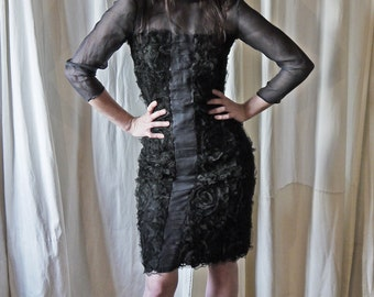 50s black lace silk muslin wiggle pleated bow tie sheer dress S