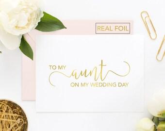 To My Aunt On My Wedding Day Card - Wedding Card to My Aunt on My Wedding Day - Day of Wedding Cards - Aunt Wedding Card (CH-89G)