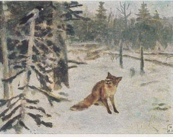 "A. Stepanov ""The Fox and The Crow"" Postcard -- 1958, Izogiz Publ."