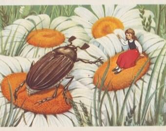 "Postcard Illustration by T. Sazonova for ""Thumbelina"" -- 1956"