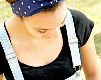 Navy Hair Bow, Bow Tie Head Scarf Bandana Style Preppy Tie Headband