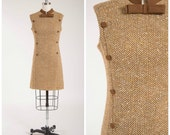 Vintage 1960s Dress • Go Getter • Brown Wool Tweed 60s Shift Dress Size Small