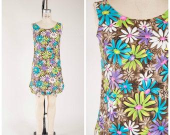 Vintage 1960s Dress • Flower Power • Bright Floral Cotton 60s Romper Size Small