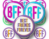 BFF, Bottle Cap Images, Digital Collage Sheet, 1 Inch Circle, Instant Digital Download, Best Friends, Pendant, Bows, Cabochon, Jewelry,