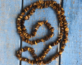 Vintage Tiger Eye Strand Necklace Polished Tumbled Semi-Precious