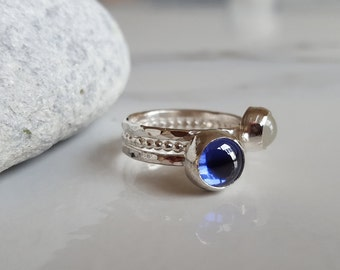 Tanzanite Ring- Moonstone Ring- Gemstone Rings- Stacking Ring Set- Silver Rings- Blue Tanzanite Ring- Gift for her- Wife Birthday Ideas