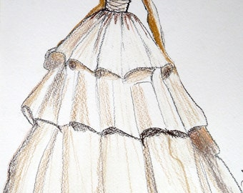 Wedding dress drawing, Personalized First Year Paper Anniversary Gift, dress custom sketch gift bride. Simply email me photos of the dress