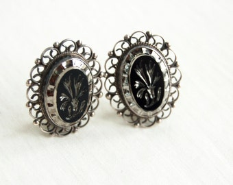 Mexican Cameo Earrings Clip On Clips Vintage Jalisco Guadalajara Sterling Silver Floral Flower Carved Black Glass