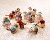 Woodland Baby Birds Mini Mushroom Birds 12 Assorted Artificial Birds / 1.5 Inches / Baby Shower / Wedding / Bridal / Cake Toppers