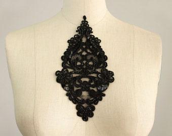 Black Venise Lace Sequin Beaded Venice Lace Diamond Organza Applique Collar / Venetian Lace / Bridal Dress Applique / Wedding Veil Trim