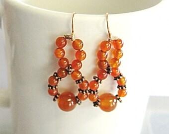 Carnelian Agate Earrings, Carnelian and Copper Earrings, Agate Earrings, Gemstone Earrings, Natural Earrings, Stone Earrings, Gemsalad