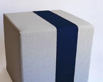 Grey Pouf/Floor Pouf/Ottoman/Stripe Pouf/Navy Blue  Stripe/Urban/ Modern/Floor Pouf/Foot Stool/Nursery Pouf/ Zigzag Studio Design