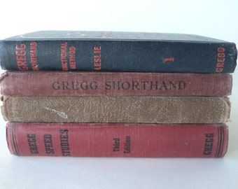 vintage books, Gregg Shorthand book stack, 1916-1940, from Diz Has Neat Stuff