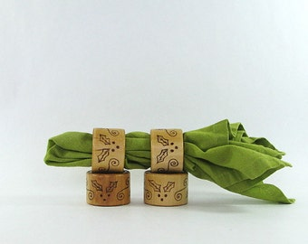 Wood Napkin Rings - Creative Pyrography - Christmas Holly