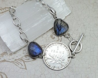 1916 France coin bracelet. Antique 1916 silver coin. Blue Labradorite bracelet. Liberty with sun. art nouveau. old french. olive branches