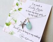 Wedding jewelry gift set of THREE Starfish necklaces, destination wedding, Y necklace, beach wedding, aqua necklace, Bridesmaid gifts