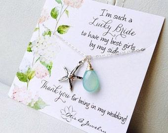 Wedding jewelry gift set, Starfish necklaces, destination wedding, Y necklace, beach wedding, gemstone necklace, Bridesmaid gifts