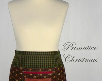 OOAK Primitive Christmas Lotsa Pockets Apron, Waitress- Vendor- Teacher Apron with Zipper Pocket - READY to SHIP, designed by Laurie's Gifts