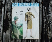 Vogue Couturier Design 1306  Fabiani of Italy 1960s 60s Skirt Suit Jacket Skirt and Blouse Vintage Sewing Pattern Size 10 Bust 31