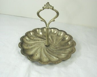 Vintage SILVERPLATE CANDY DISH Swirl Design Rustic & Tarnish Display Handle