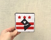 DC Flag with Map, 4x4 inch canvas, mini DC decor, free hand appliqué, sewn on a 1968 Singer, all recycled fabrics, ready to hang canvas