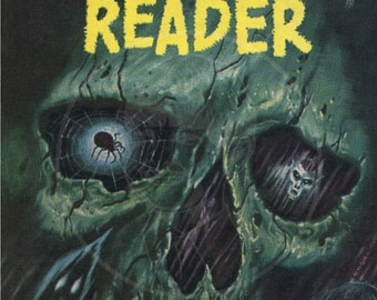 The Macabre Reader - 10x15 Giclée Canvas Print of a Vintage Pulp Paperback Cover