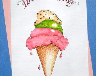 Ice Cream Birthday Card - Foodie Birthday Card - Whimsical Birthday Card