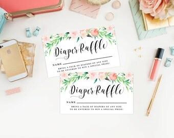 Instant Download - Delicate Bouquet Diaper Raffle Tickets