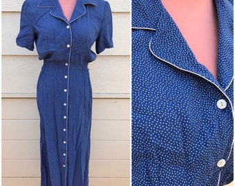 Blue spotted collar 90s vintage day dress size medium