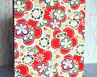 Handbound Journal (funky red flowers)