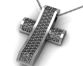 Bling Bling Diamond 14k Gold Cross Pendant Necklace accented by 76 small diamonds 0.76ct | made to order for you within 5-7 business days