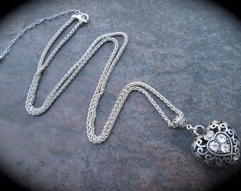 "Extra Long necklace with puffed silver filigree heart charm with rhinestones 31"" with  4"" extender Foxtail Chain Plus Size"