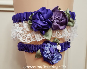 VICTORIAN Wedding Garter set/PURPLE Garter/Ivory LACE Wedding Garter