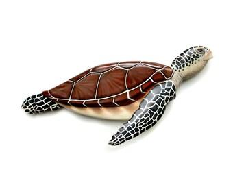 Sea turtle art sculpture 29'' wood carving, nautical art, coastal living art, beach art, wall art, wall sculpture, sea turtle decor, sea art